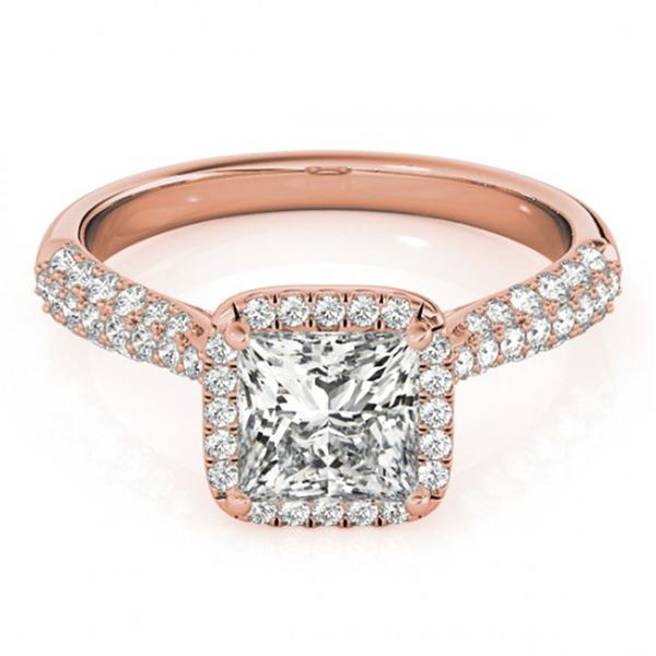 1.15 ctw Certified VS/SI Princess Diamond Halo Ring 18k Rose Gold - REF-122W8H