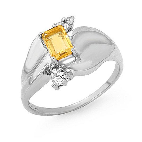 0.72 ctw Citrine & Diamond Ring 10k White Gold - REF-18K2Y