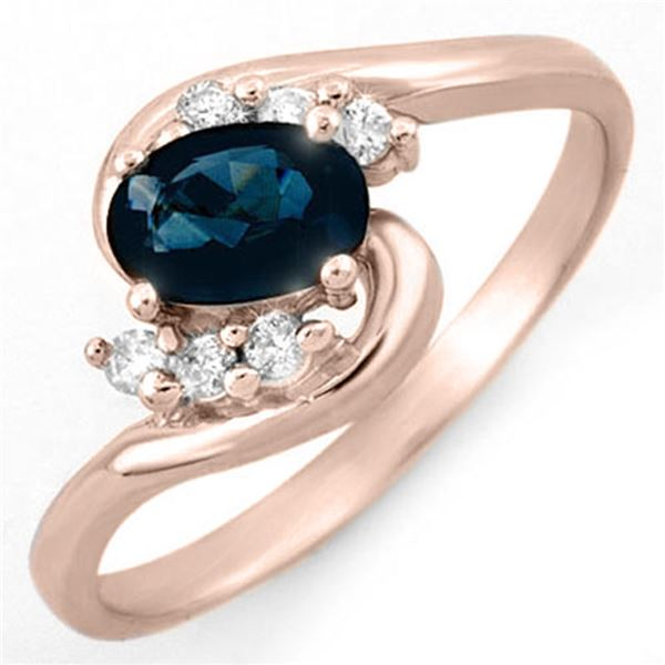 0.70 ctw Blue Sapphire & Diamond Ring 14k Rose Gold - REF-17R5K