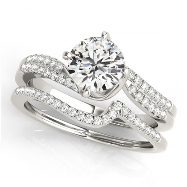 0.89 ctw Certified VS/SI Diamond Bypass 2pc Wedding Set 14k White Gold - REF-99F8M
