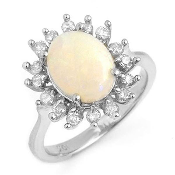 1.78 ctw Opal & Diamond Ring 18k White Gold - REF-74M8G