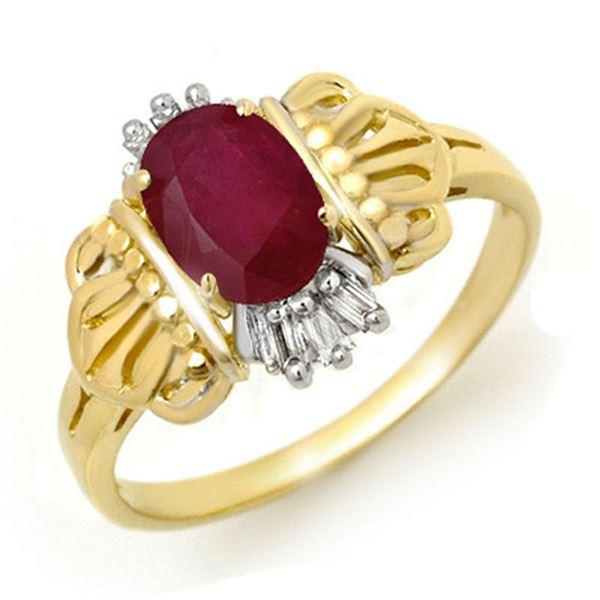 1.06 ctw Ruby & Diamond Ring 10k Yellow Gold - REF-14N3F