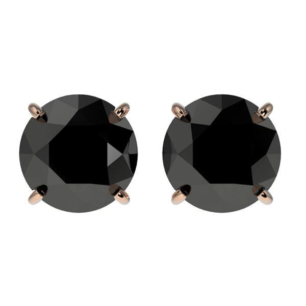 2 ctw Fancy Black Diamond Solitaire Stud Earrings 10k Rose Gold - REF-35X6A