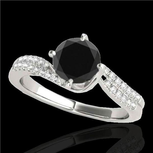 1.2 ctw Certified VS Black Diamond Bypass Solitaire Ring 10k White Gold - REF-44N9F