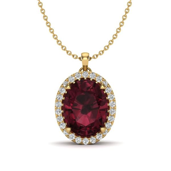 2.75 ctw Garnet & Micro VS/SI Diamond Halo Necklace 18k Yellow Gold - REF-37K5Y