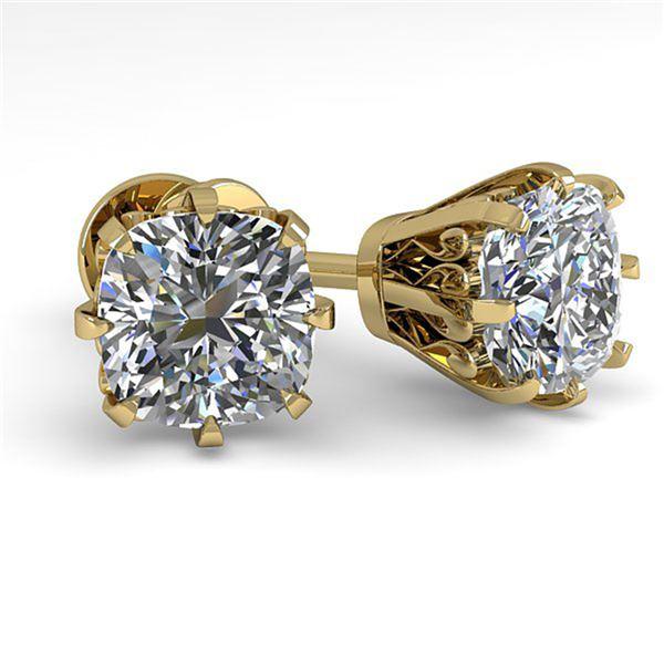 1.0 ctw VS/SI Cushion Cut Diamond Stud Earrings 18k Yellow Gold - REF-147R2K
