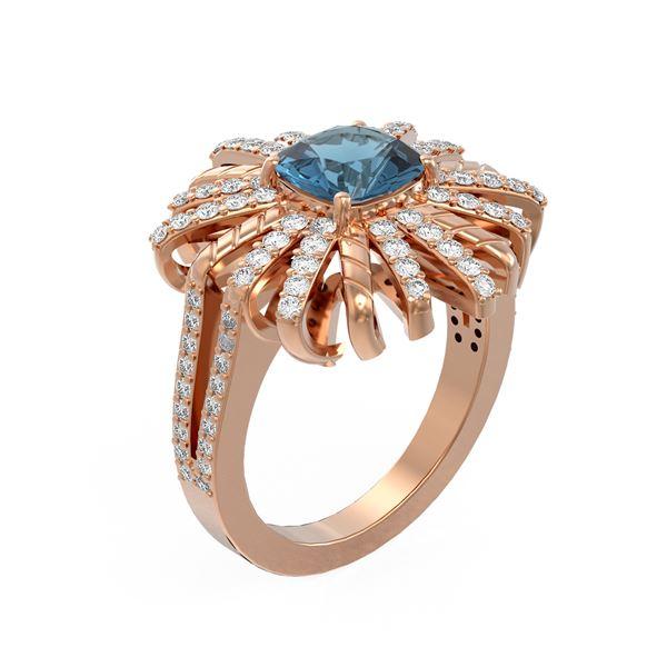 2.93 ctw London Topaz & Diamond Ring 18K Rose Gold - REF-160G4W
