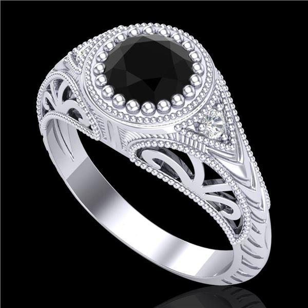 1.07 ctw Fancy Black Diamond Engagment Art Deco Ring 18k White Gold - REF-56X2A