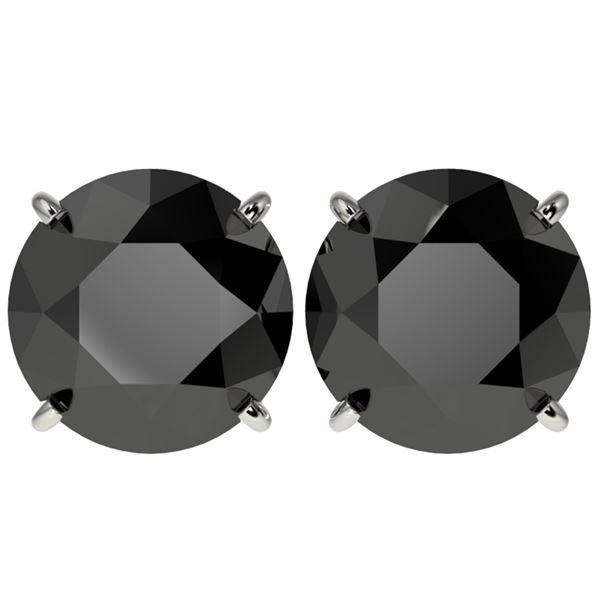5 ctw Fancy Black Diamond Solitaire Stud Earrings 10k White Gold - REF-82K2Y