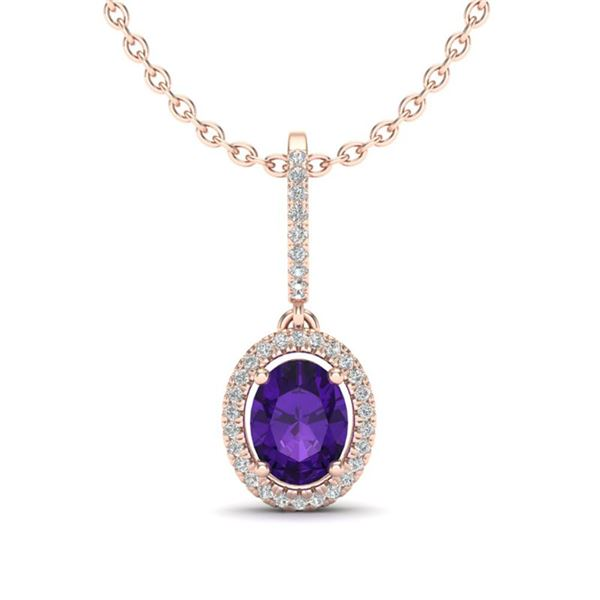1.75 ctw Amethyst & Micro Pave VS/SI Diamond Necklace 14k Rose Gold - REF-41X3A