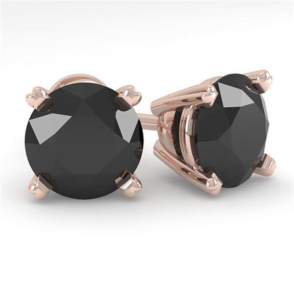 3.0 ctw Black Diamond Stud Designer Earrings 18k Rose Gold - REF-82N2F