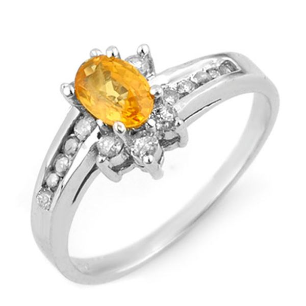 1.05 ctw Yellow Sapphire & Diamond Ring 14k White Gold - REF-31M2G