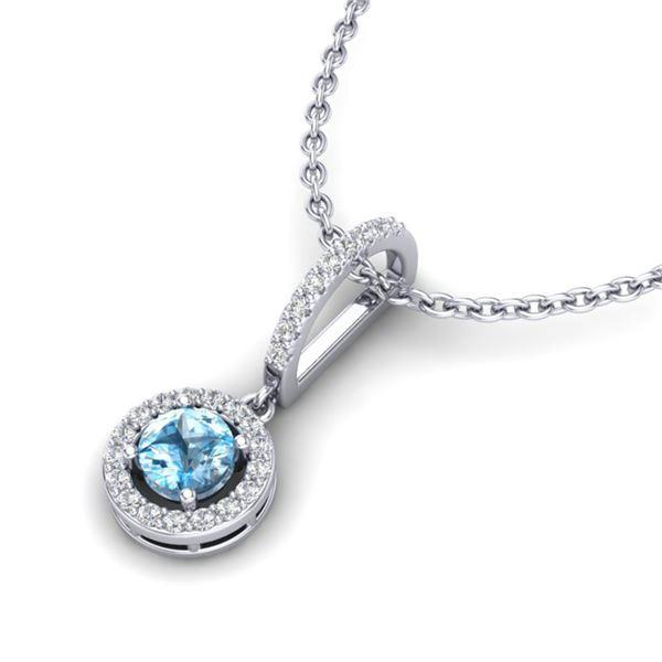 1 ctw TOPAZ & Micro VS/SI Diamond Certified Necklace 18k White Gold - REF-34H9R