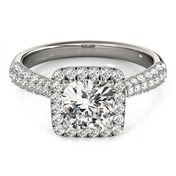 1 ctw Certified VS/SI Cushion Diamond Halo Ring 18k White Gold - REF-115G9W