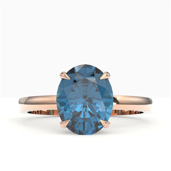 3.50 ctw London Blue Topaz Designer Solitaire Ring 14k Rose Gold - REF-18F4M