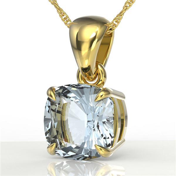 1.50 ctw Cushion Cut Sky Blue Topaz Designer Necklace 18k Yellow Gold - REF-17M6G