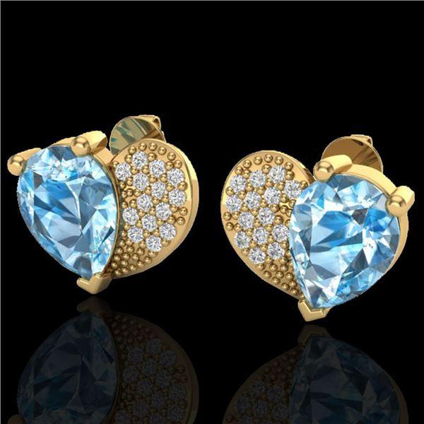 2.50 ctw Sky Blue Topaz & Micro Pave VS/SI Diamond Earrings 10k Yellow Gold - REF-22F5M