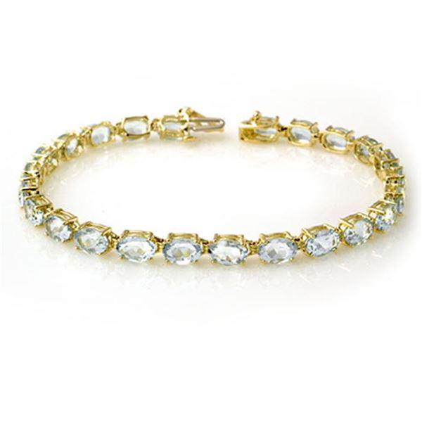 12.0 ctw Aquamarine Bracelet 10k Yellow Gold - REF-74R9K