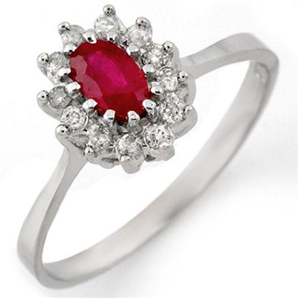 0.60 ctw Ruby & Diamond Ring 18k White Gold - REF-26M8G