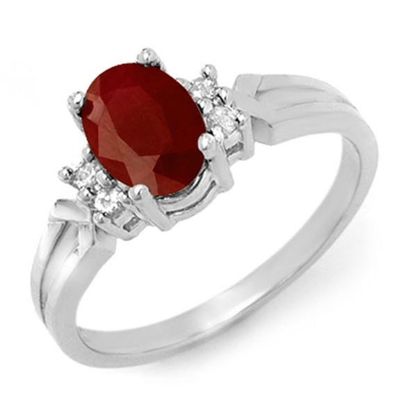 1.29 ctw Ruby & Diamond Ring 18k White Gold - REF-25Y3X