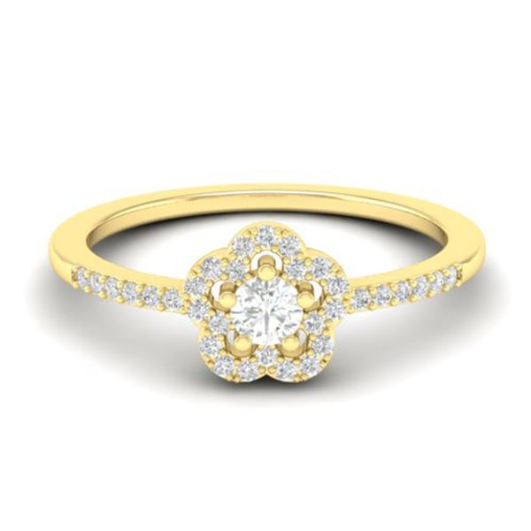 0.35 ctw Micro PaveVS/SI Diamond Certified Ring MOON Halo IN 10k Yellow Gold - REF-24G5W