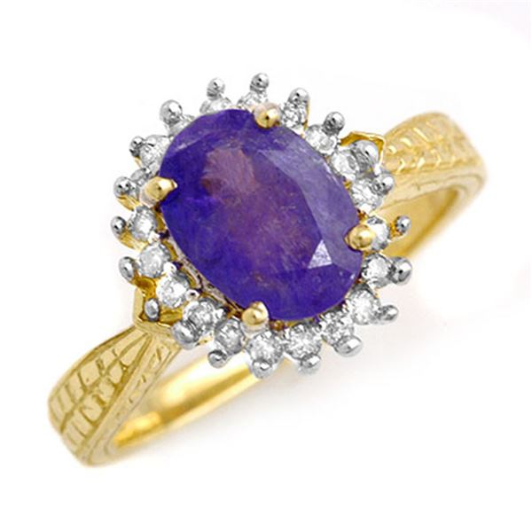 2.75 ctw Tanzanite & Diamond Ring 18k Yellow Gold - REF-103X6A