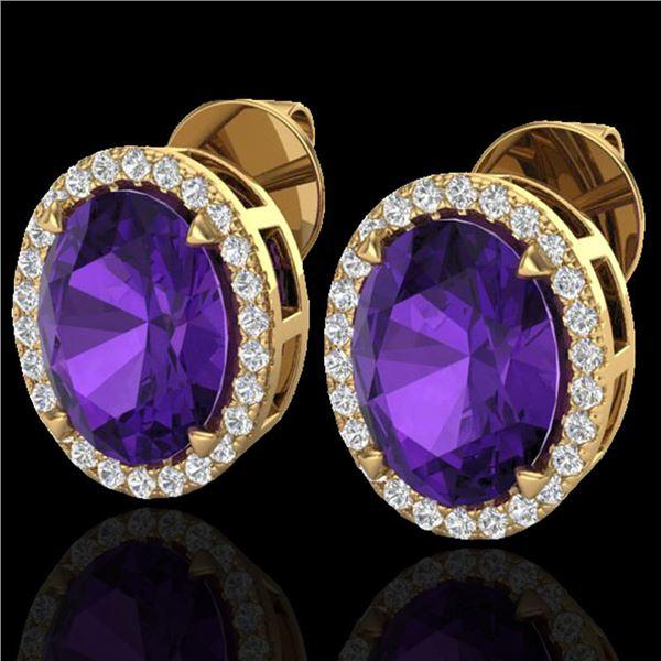 5.50 ctw Amethyst & Micro VS/SI Diamond Halo Earrings 18k Yellow Gold - REF-49K2Y