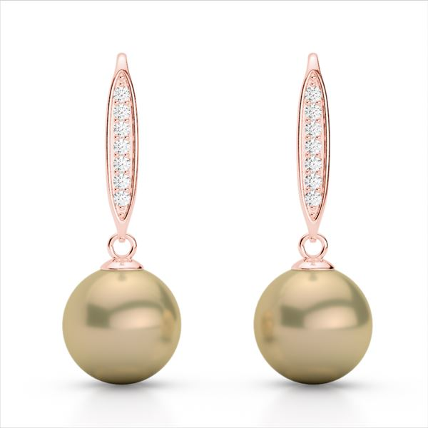 0.18 ctw Micro Pave VS/SI Diamond with Pearl Earrings 14k Rose Gold - REF-23Y2X