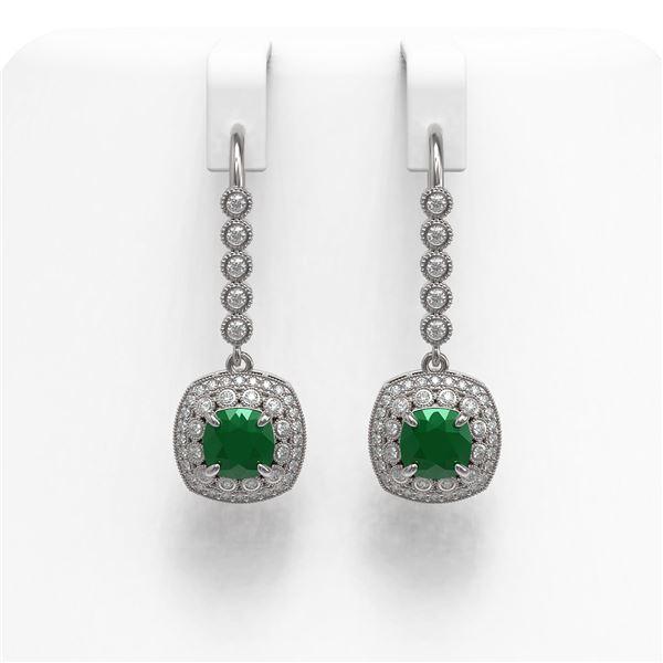 5.1 ctw Certified Emerald & Diamond Victorian Earrings 14K White Gold - REF-172H8R