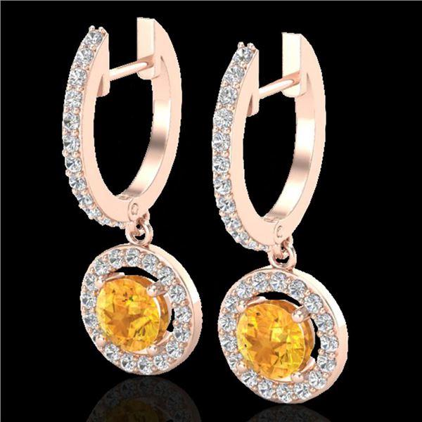 1.75 ctw Citrine & Micro Pave VS/SI Diamond Earrings 14k Rose Gold - REF-56G2W