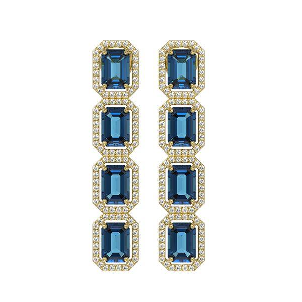 12.02 ctw London Topaz & Diamond Micro Pave Halo Earrings 10k Yellow Gold - REF-152F2M