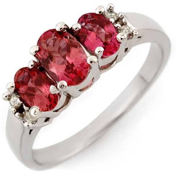 0.92 ctw Pink Tourmaline & Diamond Ring 10k White Gold - REF-21F8M