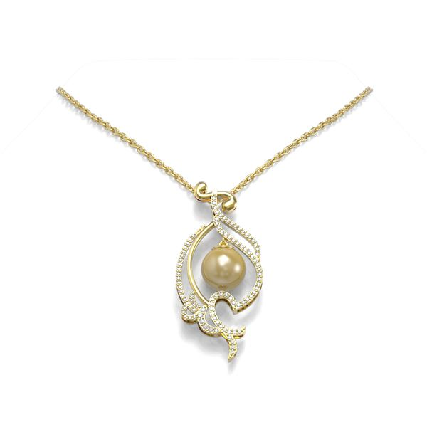 0.83 ctw Diamond & Pearl Necklace 18K Yellow Gold - REF-135W5H
