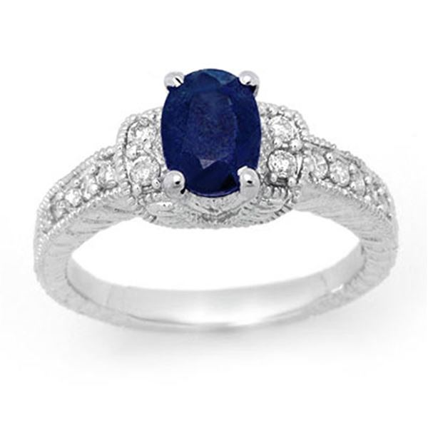 1.75 ctw Blue Sapphire & Diamond Ring 14k White Gold - REF-55F2M