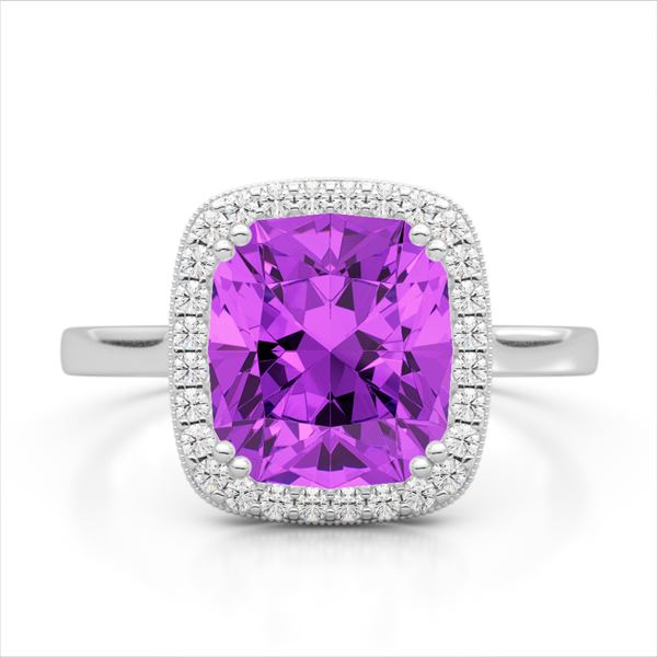2.75 ctw Amethyst & Micro Pave VS/SI Diamond Halo Ring 18k White Gold - REF-39A2N