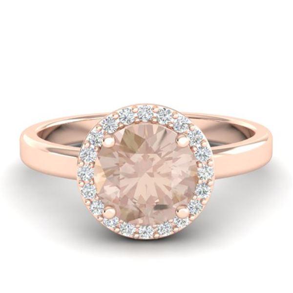 1.50 ctw Morganite & Halo VS/SI Diamond Micro Ring 14k Rose Gold - REF-40R4K