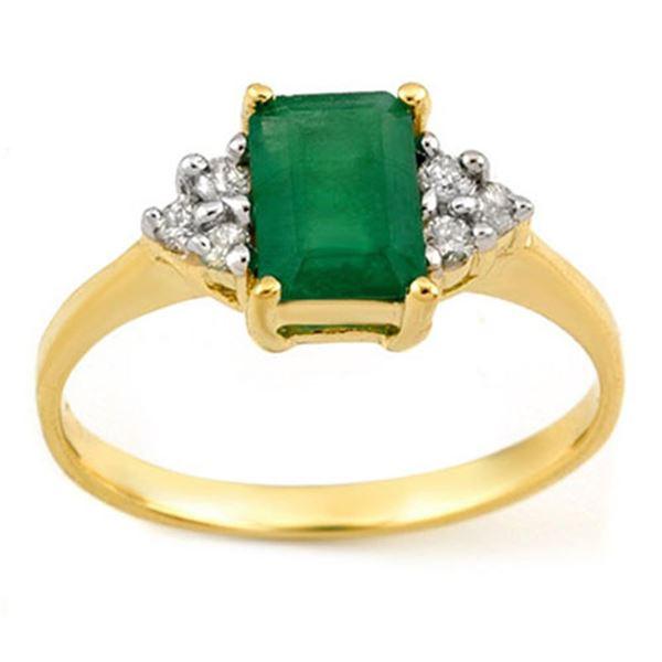 1.12 ctw Emerald & Diamond Ring 18k Yellow Gold - REF-23F9M