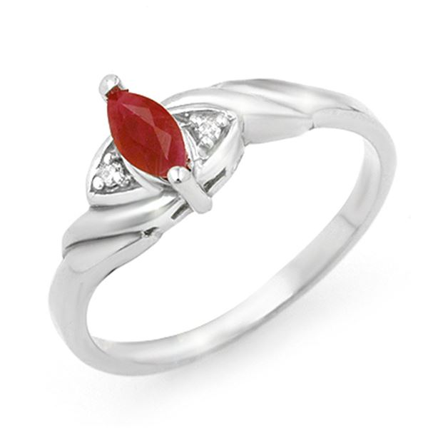 0.26 ctw Ruby & Diamond Ring 10k White Gold - REF-9W8H