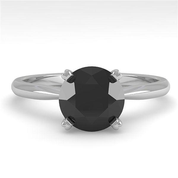 1.50 ctw Black Diamond Engagment Designer Ring 14k White Gold - REF-35F6M