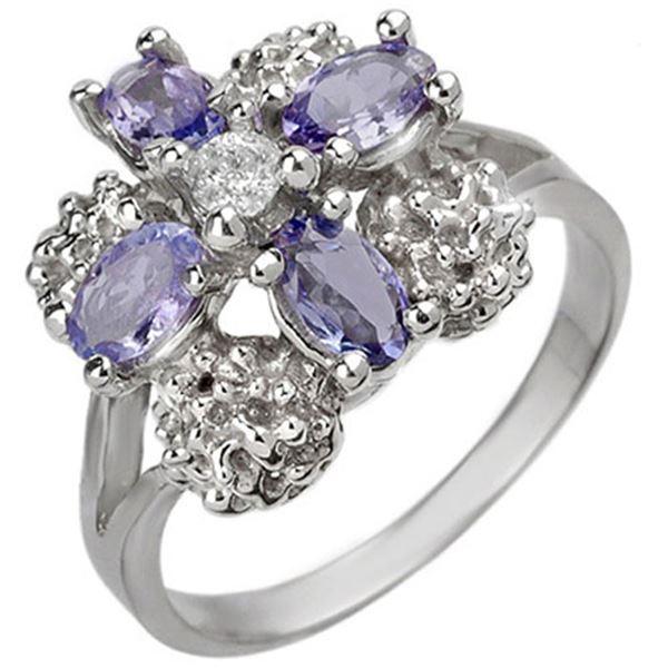 0.83 ctw Tanzanite & Diamond Ring 10k White Gold - REF-23H5R