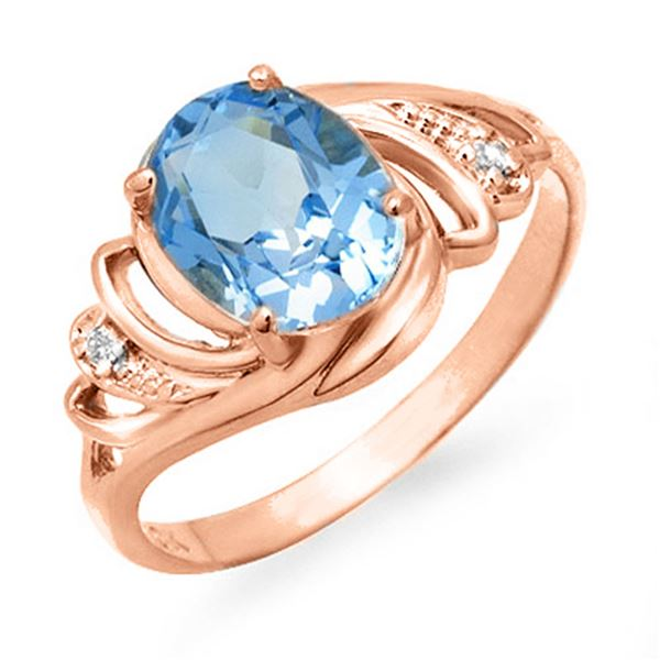 2.53 ctw Blue Topaz & Diamond Ring 14k Rose Gold - REF-19W2H