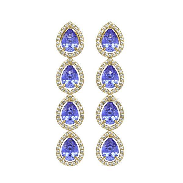 9.01 ctw Tanzanite & Diamond Micro Pave Halo Earrings 10k Yellow Gold - REF-193G6W