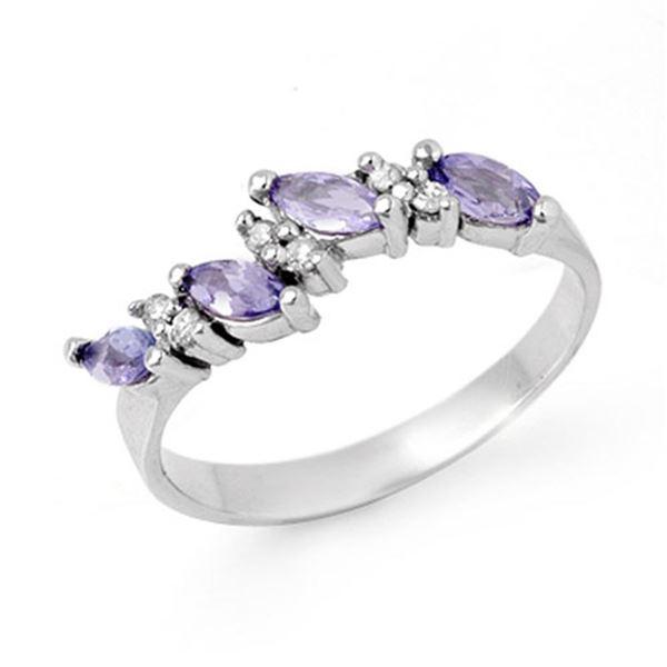 0.75 ctw Tanzanite & Diamond Ring 18k White Gold - REF-26M6G