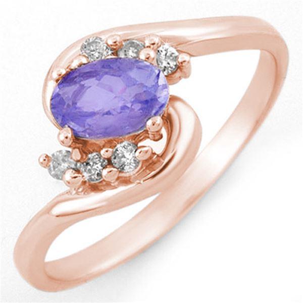 0.60 ctw Tanzanite & Diamond Ring 14k Rose Gold - REF-20X8A