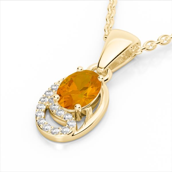 1.25 ctw Citrine & Micro Pave VS/SI Diamond Necklace 10k Yellow Gold - REF-18N4F