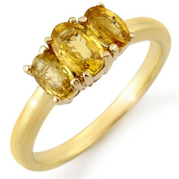 1.18 ctw Yellow Sapphire Ring Solid 10k Yellow Gold - REF-15R2K