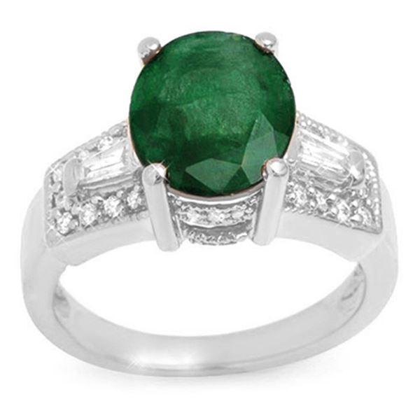4.55 ctw Emerald & Diamond Ring 14k White Gold - REF-105M5G