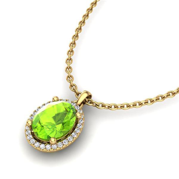 2.50 ctw Peridot & Micro Pave VS/SI Diamond Necklace 18k Yellow Gold - REF-39A8N