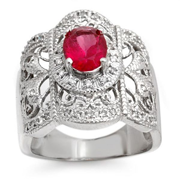 2.15 ctw Rubellite & Diamond Ring 14k White Gold - REF-93Y3X