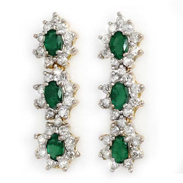 2.52 ctw Emerald & Diamond Earrings 14k Yellow Gold - REF-107X3A